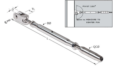 Quick-Connect(R) Jaw Turnbuckle