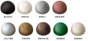 Nine end cap colors:black, white, gray, brown, green, bronze, taupe, cream, silver